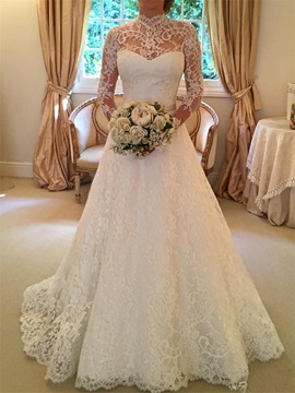 Elegant High Neck Long Sleeves A Line Lace Wedding Dress