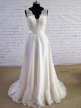 Simple V Neck Appliques Floor Length A Line Wedding Dress