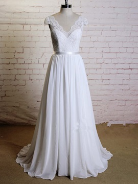 Beautiful V Neck Chiffon A Line Wedding Dress
