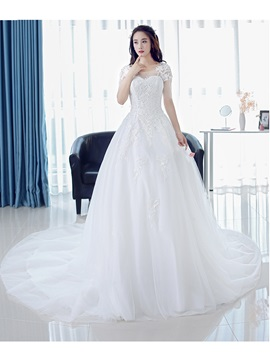 Short Sleeves Beaded Appliques Long Wedding Dress