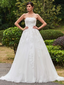 Superior Appliques Strapless A Line Sweep Train Wedding Dress