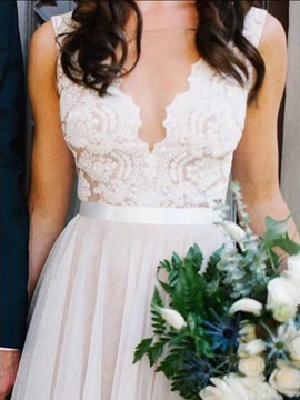 Hot Sale Sheer Neck Lace A Line Pearls Beach Wedding Dress