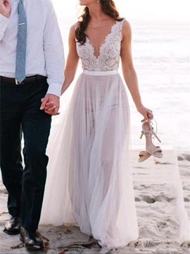 Sheer Neck Pearls Lace Beach Wedding Dress