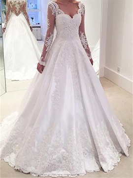 Long Sleeves V Neck A Line Appliques Wedding Dress