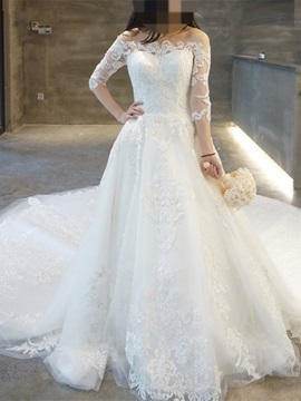 Off-the-Shoulder Appliques A Line Wedding Dress with Sleeves