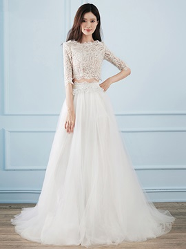 Half Sleeves Lace Two Pieces Beach Wedding Dress