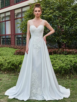 V-Neck Appliques Button Sheer Back A-Line Wedding Dress