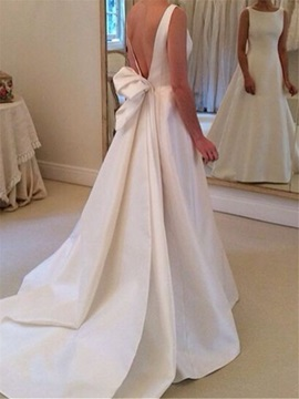 Plain Bateau Neck Sashes Backless Wedding Dress