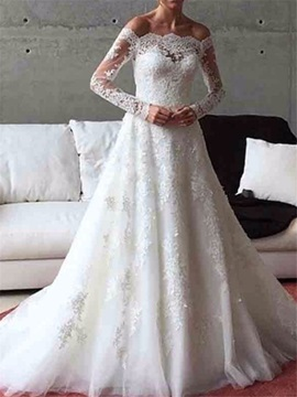 Button Appliques Long Sleeves Wedding Dress