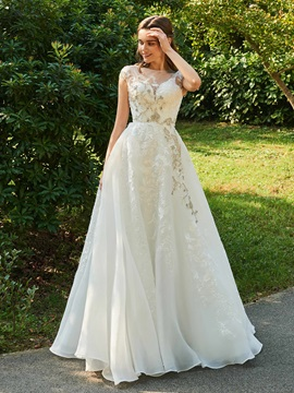 Cap Sleeve A-Line Beaded Appliques Wedding Dress