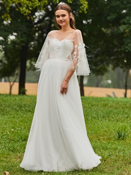 Dramatic Straps Flowers Fur A-Line Wedding Dress