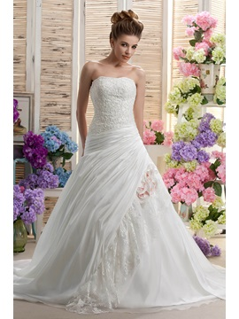 Strapless A-Line Sleeveless Beading & Applique Chapel Daria's Wedding Dress