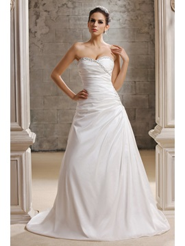 Charming A-Line Sweetheart Chapel Train Taline's Wedding Dress