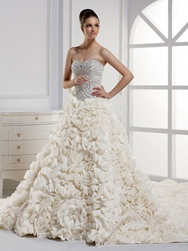 Charming Strapless Beaded Sweetheart Floor Length A-Line RufflesWedding Dress
