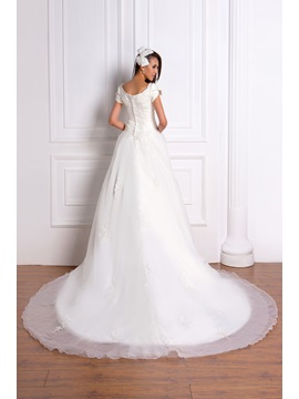 Princess Square Neckline Short Sleeve Appliques Wedding Dress