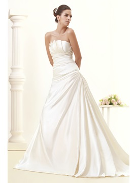 Amazing A-line Scalloped-Edge Strapless Floor-Length Chapel Train Taline's Wedding Dress