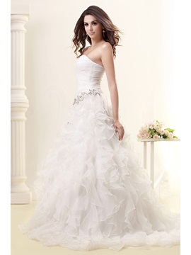 Pretty A-line Sweetheart Floor-length Chapel Ruffles Sleeveless Taline's Wedding Dress