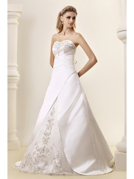 Amazing A-Line Strapless Chapel Embroidery Dasha's Wedding Dress