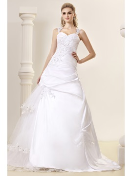 Amazing A-Line Straps Appliques Chapel Vintage Dasha's Wedding Dress