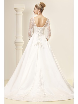 Elegant Half-Sleeves A-line Square Dasha's Wedding Dress