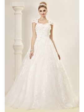 Stunning A-Line Floor-length Capped-Sleeves Lace Dasha's Wedding Dress