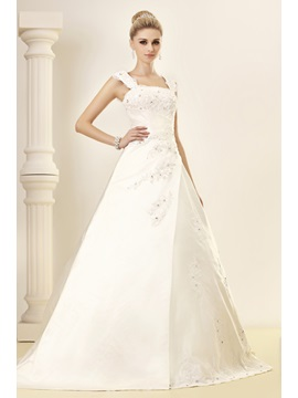 A-Line Square Sleeveless Chapel Appliques Dasha's Wedding Dress