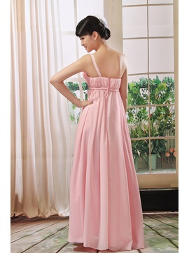 Hot Selling Flowers One Shoulder Floor Length A-Line Bridesmaid Dress