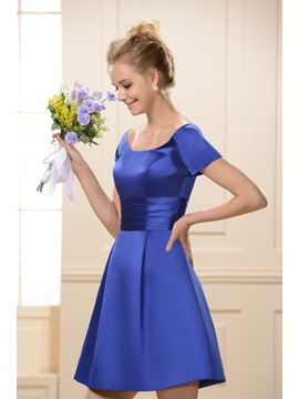 Scoop Neckline Short Sleeves Knee-Length Bridesmaid Dress