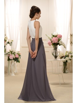 Straps Flower Pleats Sashes Long Bridesmaid Dress
