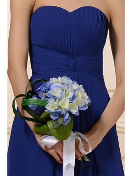 Popularable Pleats Sheath Strapless Floor-Length Bridesmaid Dress
