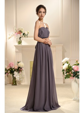 Faddish Flowers Pleats A-Line Sashes Floor-Length Bridesmaid Dress
