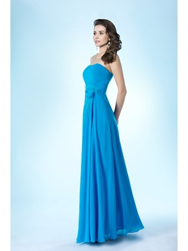 Simple Style Strapless Zipper-up Floor-Length A-Line Bridesmaid Dress