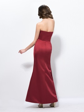Elegant Strapless Trumpet Flower Ruched Long Evening Dress