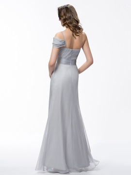 Floor Length Sheath Ruched Cap Sleeve One Shoulder Bridesmaid Dress