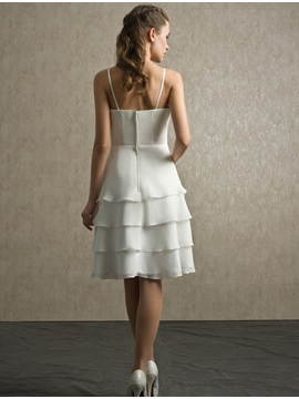 Spaghetti Straps Sweetheart Short Tiered Bridesmaid Dress