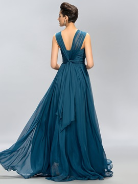 Simple V-Neck Ruffles Floor-Length A-Line Long Bridesmaid Dress
