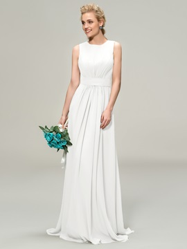 Jewel Neck Floor Length A-Line Bridemaid Dress