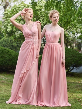 Delicate V Neck Appliques Pleats A Line Long Bridesmaid Dress