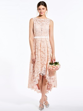 Sweet Bateau Asymmetry A Line Lace Bridesmaid Dress