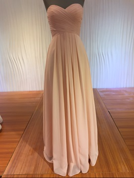Pure Sweetheart A Line Pleats Long Bridesmaid Dress