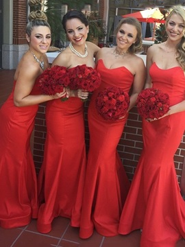 Elegant Strapless Red Mermaid Bridesmaid Dress