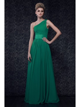 Pleats One-Shoulder A-Line Floor-Length Dasha's Bridesmaid Dress