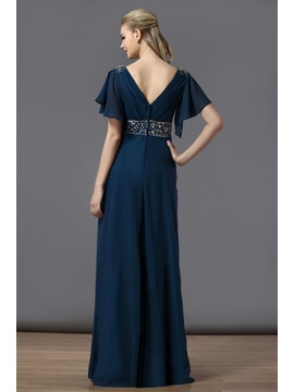Charming V-Neck Ruffles A-Line Floor-Length Short Sleeves Bridesmaid Dress