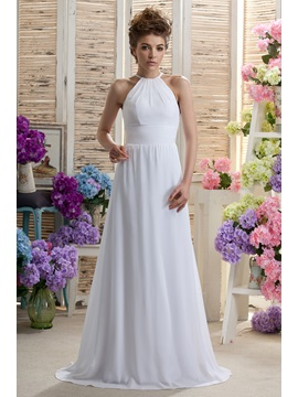Graceful A-line Floor-Length Halter Daria's Bridesmaid Dress