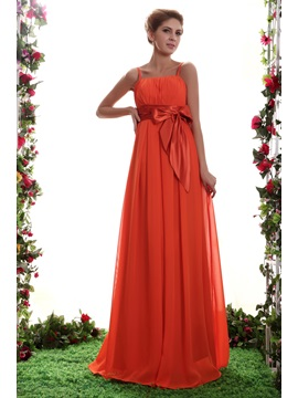Elegant Spaghetti Straps Empire Waist A-Line Long Bridesmaid Dress