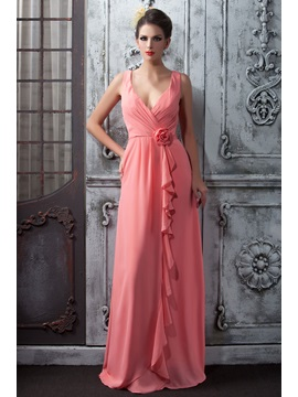 Delicate Ruffles Flower A-Line V-Neck Floor-Length Taline's Bridesmaid Dress