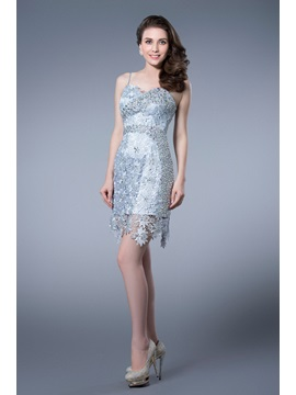 Luxurious Beading Lace Column Spaghetti Straps Cocktail Dress