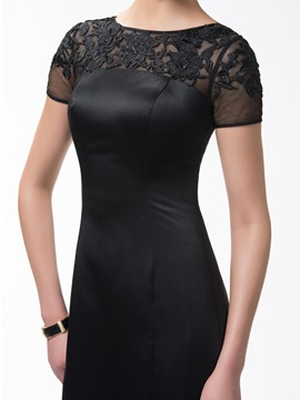 Classic Sheath Knee-Length Bateau Appliques Short Sleeves Formal Dress