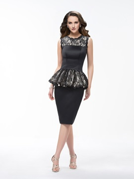Sheath Knee Length Scoop Lace Ruffles Sleeveless Zipper-up Formal Dress