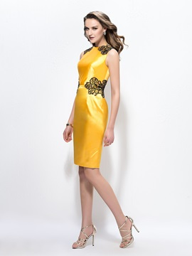 Bright Sheath Jewel Neckline Appliques Beading Knee-Length Formal Dress